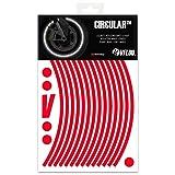 VFLUO CircularTM, Kit de Cintas, Rayas Retro Reflectantes para Llantas de Moto (1 Rueda), 3M TechnologyTM, Anchura Normal : 7mm, Rojo