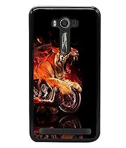 printtech Flaming Tiger Bike Back Case Cover for Asus Zenfone 2 Laser ZE550KL ,Asus Zenfone 2 Laser ZE550KL (5.5 Inches)
