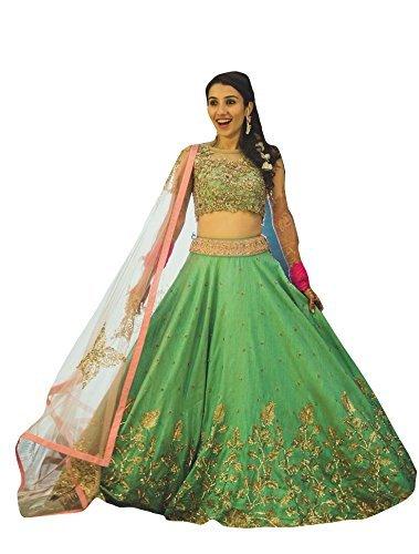 Generic Women\'s Silk Lehnga Choli (Green, Free Size)