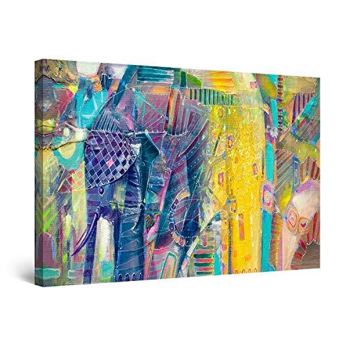 Startonight Cuadro Moderno en Lienzo Elefantes Amarillos, Pintura Animales Abstractos para Salon Decoración Grande 80 x 120 cm