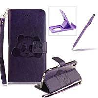 Wallet Case for Sony Xperia XA,Flip Case with Strap for Sony Xperia XA,Herzzer Book Style Cute Purple Panda Pattern Magnetic Stand Card Holder Case with Soft Inner for Sony Xperia XA + 1 x Free Purple Cellphone Kickstand + 1 x Free Purple Stylus Pen