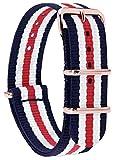 MOMENTO Damen Herren NATO Nylon Uhren-Armband Ersatz-Armband Uhren-Band mit Edelstahl-Schliesse in Rosegold und Nylon Uhr-Armband in Blau Weiss Rot 18mm