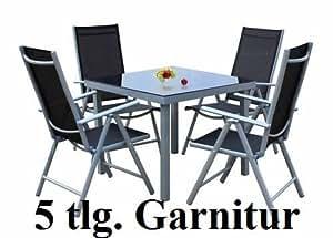 5tlg alu gartenm bel set gartengarnitur balkonm bel set gm5. Black Bedroom Furniture Sets. Home Design Ideas