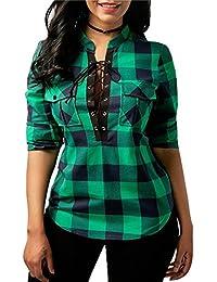 Hibote Mujer Blusa Camisa a Cuadros Mujeres Blusas Camisetas de Manga Larga con Cuello EN V