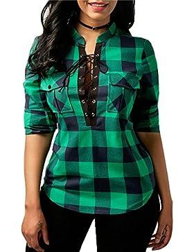 Hibote Mujer Blusa Camisa a Cuadros Mujeres Blusas Camisetas de Manga Larga con Cuello EN V Camisas Casual Checker...