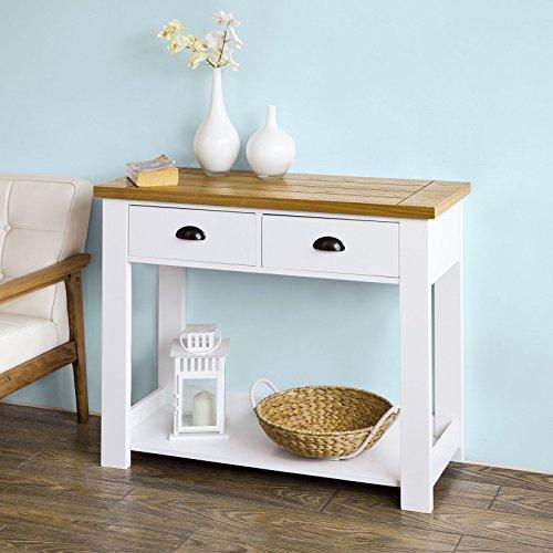 SoBuy® Mesa auxiliar con 2 cajones y tablero, Consola mesa madera escritorio blanco, FKW43-WN,ES