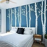 N.SunForest Lot de 4Grands bouleaux en Blanc 2,6m Chambre d'enfant Arbre Stickers muraux en Vinyle Art Mural Décoration Murale Sticker Mural Stickers muraux en Vinyle Pop bébé Cadeau