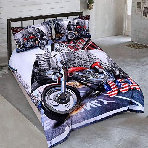 30abd550b2 JSDJSUIT Juegos de Cama 3D Moto USA Set di Biancheria Da Letto Edredón  Copertura del Cuscino