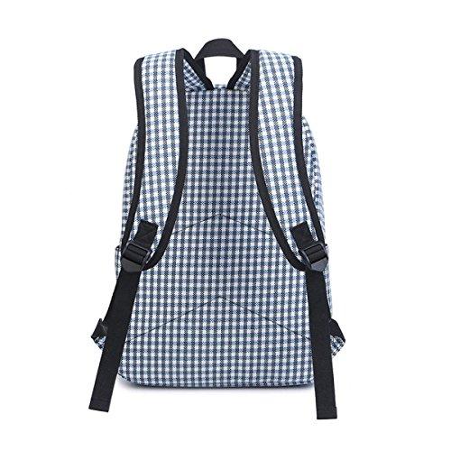 Studenten Leinwand Gitter Mädchen Niedlich Schule Große Kapazität Mode Rucksack Laptoptasche Blue