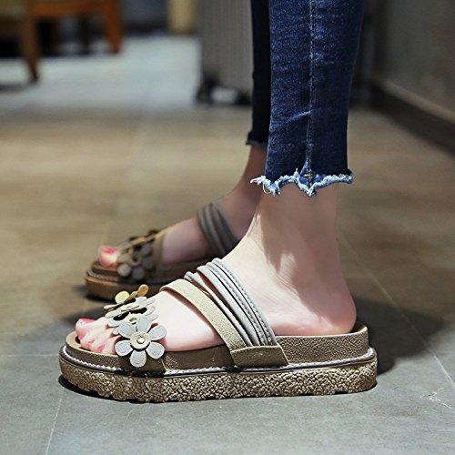 Qqwweerrtt pantofola per la moda estiva estiva con spessa suola vintage universale fan han con indosso fiori sandali e ciabatte da spiaggia,36,beige
