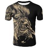 OSYARD Herren Sommer T-Shirt mit 3D Tigerdruck O-Ausschnitt Tops Lässige Kurzarm Hemd