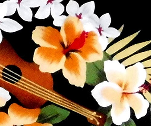 "Chemise Hawaienne Homme ""Hawaiian Ukulele"" 100% coton, taille M – 3XL, noir Noir"
