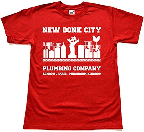 Retro New Donk City Plumbing Company ROT T Shirt Extra Large (Super Mario Galaxy Lego)