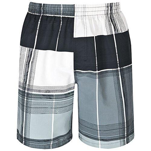 mareno® - Herren Badeshort mit modernem Karomuster in grün, marineblau, rot oder schwarz/grau Schwarz/Grau