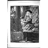 Antiker Druck Eisenbahn-Bahnfahrkarte-Inspektors des 1882 HundeKarten-Fräulein-Junges Mädchen