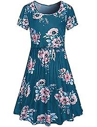 VECDY Ropa Premama Verano, Moda Vestidos Floral Embarazadas Imprimen Embarazadas De Amamantamiento Grande Faldas Playa