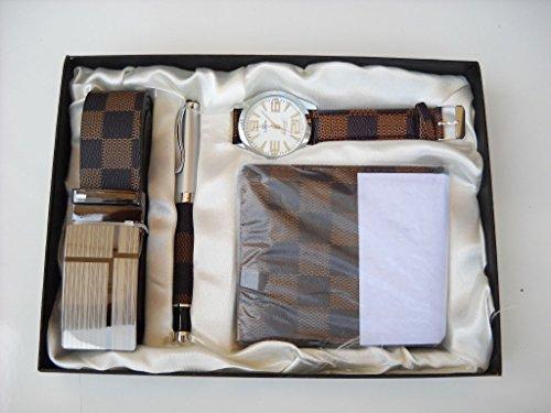 Geschenkbox Herren Uhr Stift Geldbörse und Gürtel Set Laurea, braun