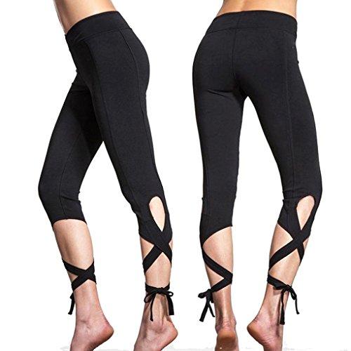 xinantime Sport Gym Yoga Fitness zugeschnitten Leggings (Gerippte Stretch-leggings)