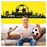 Wandora Wandtattoo Dortmund Skyline I schwarz (BxH) 165 x 47 cm I Fußball Fan Stadt Verein Flur Wohnzimmer Sticker Aufkleber Wandaufkleber Wandsticker G083