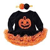 ❤️ Vestido de Calabaza de Halloween de 3 a 18 Meses, Tefamore Ropa Halloween para Niños Niños Bebé Chicas Calabaza A Rayas Impresión (Negro, 6-12 Meses)