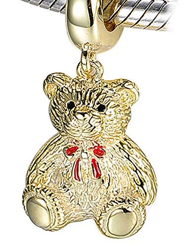 (Charm Teddybär – S925 Sterling Silber vergoldet Charm-Armband Bead)