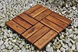 SAM Holzfliese 02 Akazie, FSC® 100% zertifiziert, 30x30cm, Bodenbelag mit Drainage Unterkonstruktion, Klick-Fliese für Garten, Terrasse, Balkon
