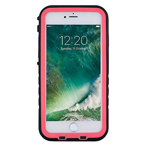 FLOVEME Cover Impermeabile Waterproof Custodia Antipolvere Resistente Rafting Surfing Nuoto Immersione Case Protettiva per iphone 7 Bianco Rosso
