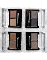 Compact Eyebrow or Eyeshadow Powder 2 Shade Palette Kit (2 x 4.5g) With Brush- 4 Colours Available (3. Light Medium)
