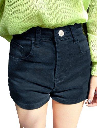 Damen Stilvolle Mittlere Bundhöhe Zipper Fly Neigung Taschen Front Kurz Shorts - Marineblau, Damen, XS (EU 34) (Denim Taschen Steigen)