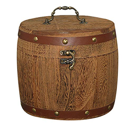 Ohwens Mini Wooden Barrel Canister Storage Box for Tea Leaf Flour Coffee Bean (Leaf Canister)