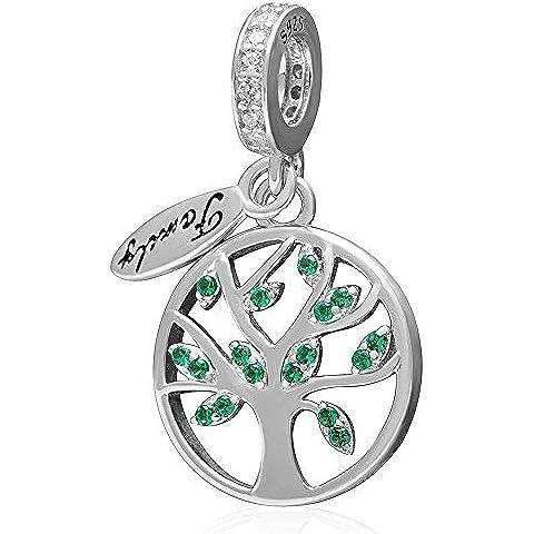 Albero di Natale Albero della vita Ciondolo in argento Sterling 925Dangle Bead braccialetto con ciondoli Pandora portafortuna verde