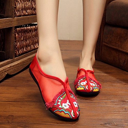 ZQ Feine bestickte Schuhe, Sehnensohle, ethnischer Stil, weibliche Schuhe, Mode, bequem, Tanzschuhe Sandalen , red , 39