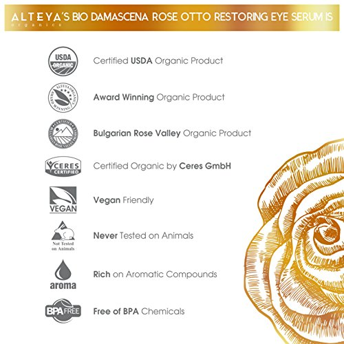 Alteya Bio Regenerierendes Augenserum 10ml – USDA Organic-zertifiziert Rein Natürlich Augenkonturenserum auf der Basis von ätherischem Damaszener-Rosenöl in therapeutischer Qualität