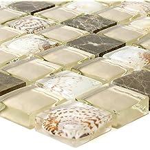 Glasmosaik Natursteinfliesen Tatvan Muschel Braun Beige | Wandfliesen |  Mosaik Fliesen | Glas Mosaik
