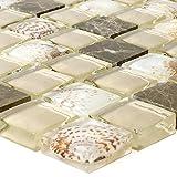 Glasmosaik Natursteinfliesen Tatvan Muschel Braun Beige | Wandfliesen | Mosaik-Fliesen | Glas-Mosaik | Fliesen-Bordüre | Ideal für die Küche und Badezimmer (auch als Muster erhältlich)