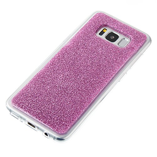 Samsung Galaxy S8 Silicone Coque, Samsung Galaxy S8 Bling Diamant Coque en Silicone Coque Clair,Cozy Hut Bling Glitter Étoile étincelante étoilée design étoilé pour Samsung Galaxy S8 Case Coque Housse Violet