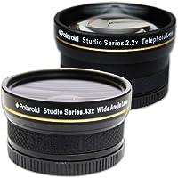 Kit de voyage Objectif grand angle haute définition .43x 52/55/58 mm de Polaroid Studio Series avec fixation macro + Téléobjectif haute définition 2.2x de Polaroid Studio Series, inclut les housses d'objectif et les couvercles d'objectif