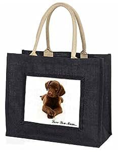 Advanta Schokolade Labrador Puppy Love You Mum Große Einkaufstasche/Weihnachtsgeschenk, Jute, schwarz, 42x 34,5x 2cm