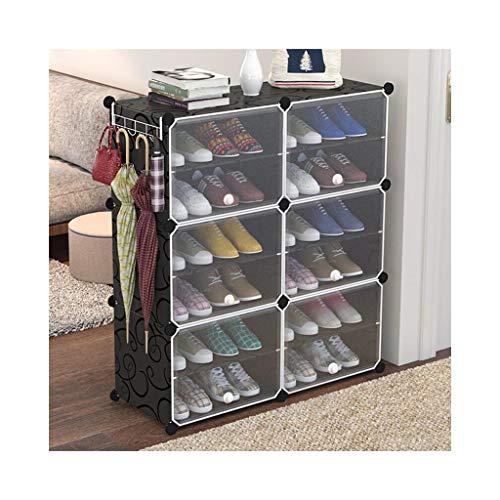 Schuhregale, 6 Storage Cube Organizer Kleiderschrank Modularer Schrank Kunststoffschrank, Cubby Regal Schubladenschrank, DIY Modulares Bücherregal Schranksystem mit Türen für Kleidung, Schuhe, Spielze
