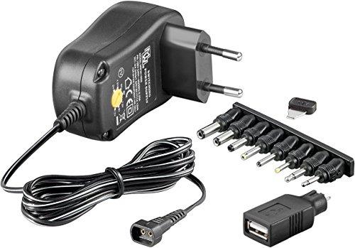 Fuente de alimentación universal 1000mAh 3V/4,5V/5V/6V/7,5V/9V/12V incl. 8 enchufes adaptadores más USB