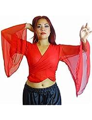 La danza de vientre Choli con alas Brazo Top tribal Tamaño del Reino Unido de vestuario gitana 12-24 - hasta XXXL (ROJO, 18-24)