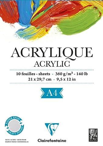 ClaireFontaine - Réf 96308C - Un Bloc Acrylique Encollé Petit Côté 360 g 10 Feuilles A4 vendu à l