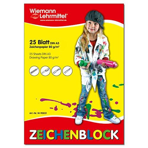 Zeichenblock, DIN A3, 80 g/m2, 25 Blatt