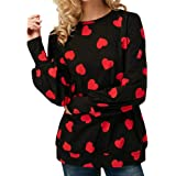 Bekleidung FORH Damen Herbst Winter langarmshit Niedlich Love Heart Muster Gedruckte Bluse bequem warme Lange Ärmel Baumwolle Hemd Casual Loose T-Shirt Hemd Tops
