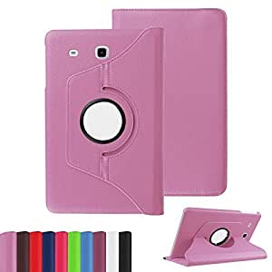 Custodia cover 360 Gradi flip rotabile litchi texture eco pelle ROSA con stand per Samsung Galaxy Tab E 9.6 T560 T561 + pellicola protettiva + pennino capacitivo + pannetto pulisci schermo digital bay