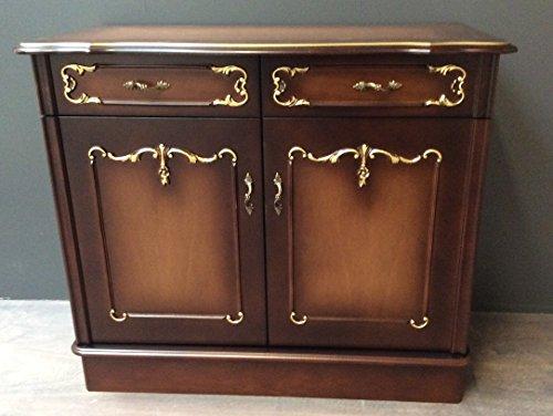 Chippendale Kommode Anrichte 2 Schubladen 2 Türen Schrank Nussbaum 86x74x41 cm (2-tür Nussbaum Schrank)