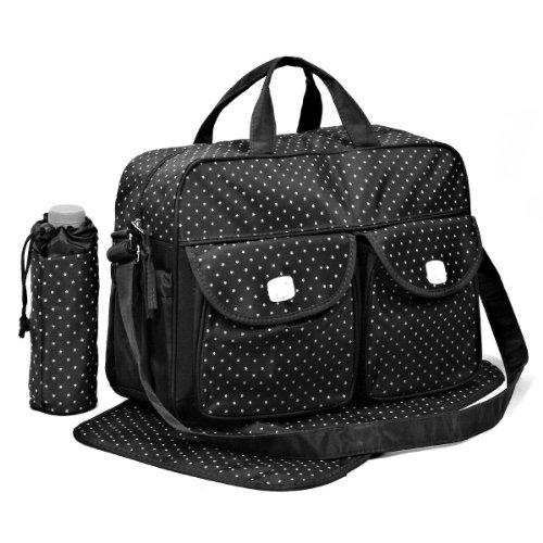 Preisvergleich Produktbild Nest des Kind-Set Tasche [Daisy] 3PZ Wickeltasche + Wickelunterlage + Flaschenhalter STAR BLACK