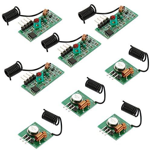 Anpro 4x 433 MHz Empfänger und Funk Sende Modul Superregeneration Wireless Transmitter Modul Einbrecher Alarm Burglar Alarm mit 2 Helical Antenne, EINWEG