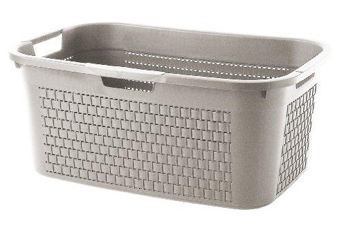 Sundis Wäschekorb Country in Rattan Optik - stabiler Kunststoff Wäschesammler, 40Liter - leichte Wäschetruhe mit guter Belüftung - angenehmes Tragen der Wäschebox - 59 x 39 x 25.2 cm - cappuccino
