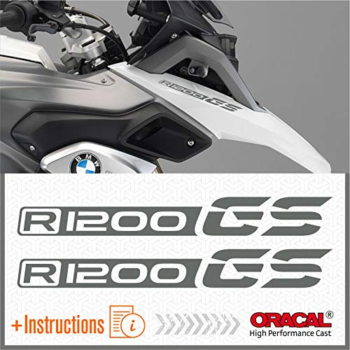 2pcs Adesivi compatibile con Moto R1200 GS BMW Motorrad R 1200 (Grigio)